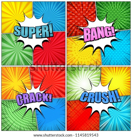 Stock Photo Big collection of comic book pages with colorful Crush Crack Bang Super inscriptions white speech bubbles radial rays spiral circles grid and halftone effects in pop art style. Vector illustration