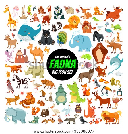 Shutterstock Big collection of cute cartoon animals,birds and sea creatures of the world.Big fauna of the world icon set.Vector illustration isolated on white
