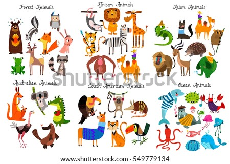 Shutterstock Big collection of cute cartoon animals from different continents: Forest,Australian, African ,South american animals,Ocean animals and Asian animals.Vector illustration isolated on white