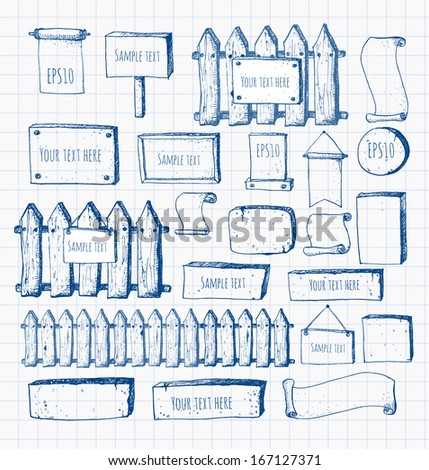 Big collection of cute pen sketch rustic backgrounds . Fences, plates, announcement boards and other objects. Hand-drawn with ink. Vector sketch illustration.