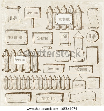 Big collection of cute sketch rustic backgrounds. Fences, plates, announcement boards and other objects. Hand-drawn with ink in vintage style. Vector sketch illustration.
