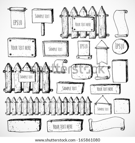 Big collection of cute sketch rustic backgrounds. Fences, plates, announcement boards and other objects. Hand-drawn with ink. Vector sketch illustration.