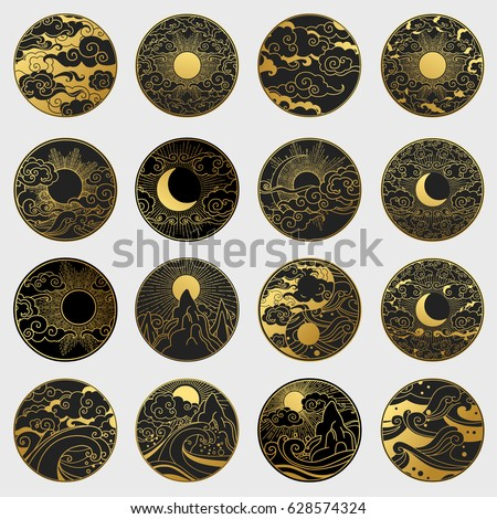 Big collection of decorative graphic design elements in oriental style. Sun, Moon, sky, ocean, mountains. Vector hand drawn illustration
