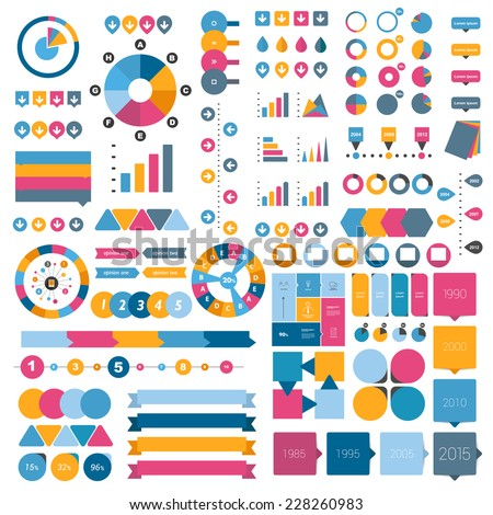Big collection of flat infographics elements.