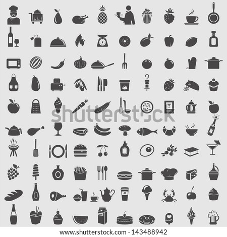 Big collection of food icons. Vector