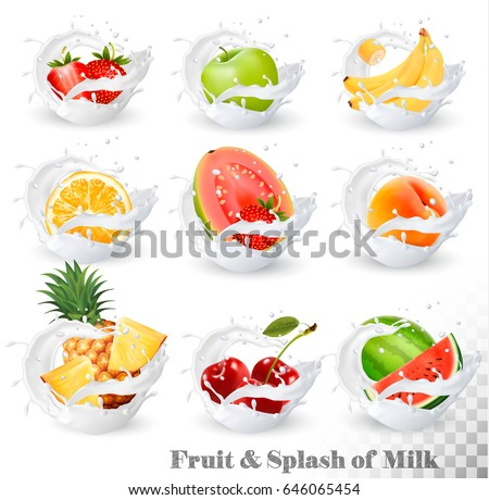 Big collection of fruit in a milk splash. Pineapple, cherry, banana, apple, watermelon, peach, guava, strawberry, orange. Vector Set 14.