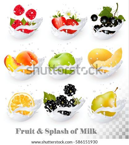 Big collection of fruit in a milk splash. Strawberry, raspberry, honeydew melon, peach, pear, orange, apple, blackberry. Vector Set 8.