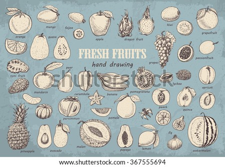 big collection of fruits on