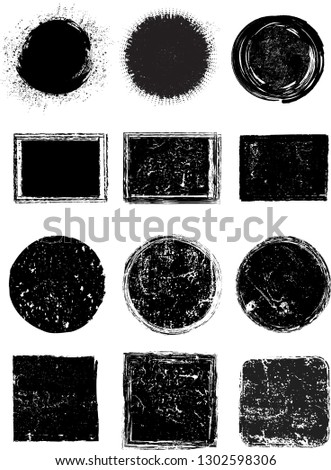 Big collection of Grunge post Stamps . Circles. Large set of Banners, Insignias , Logos, Icons, Labels and Badges  . vector distress textures.blank shapes. #1302598306