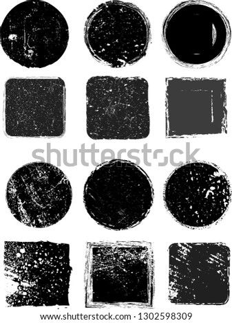 Big collection of Grunge post Stamps . Circles. Large set of Banners, Insignias , Logos, Icons, Labels and Badges  . vector distress textures.blank shapes. #1302598309