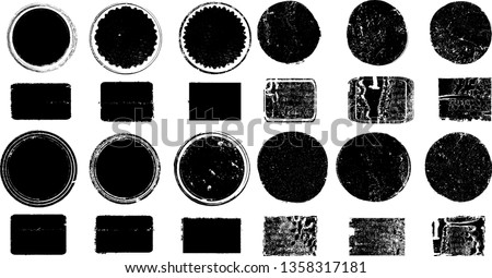 Big collection of Grunge post Stamps . Circles. Large set of Banners, Insignias , Logos, Icons, Labels and Badges  . vector distress textures.blank shapes. #1358317181