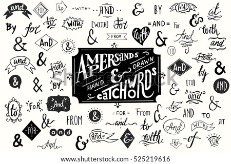 Big collection of hand lettered ampersands and catchwords isolated on white background. Great vector design set for wedding invitations, save the date cards and other stationary.