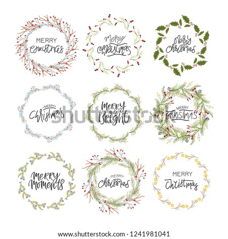 Big collection of hand written christmas phrases and quotes. Christmas wreath. Unique design for your greeting cards, banners, flyers. Vector illustration.