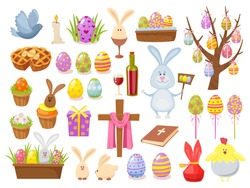 Big collection of Happy Easter objects. Cartoon style design vector illustration. Set of spring religious christian colorful items.