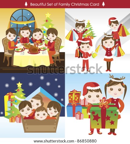 big collection of happy family christmas card