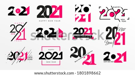 Big Collection of 2021 Happy New Year logo text design. 2021 number design template. Vector happy new year symbols with pink and black labels isolated on white background. Greeting card template.