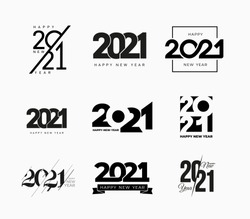 Big collection of 2021 Happy New Year signs. Set of 2021 Happy New Year symbols. Greeting card artwork, brochure template. Vector illustration with black holiday labels isolated on white background.