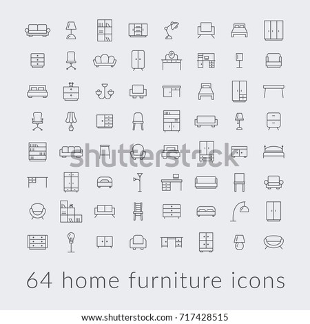big collection of home furniture icons