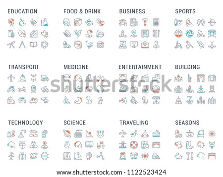 Big collection of linear icons. Transport, food & drink, business, sport, transport, medicine, technology, science, traveling and others. Twelve themes with main thin signs for your best projects.