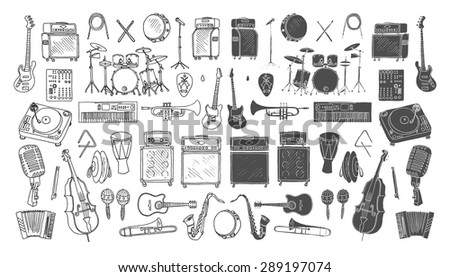 Big collection of Music Instruments. Hand drawn illustration in doodle style.Isolated