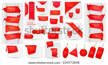 Big collection of red origami paper banners and stickers and labels. Vector illustration