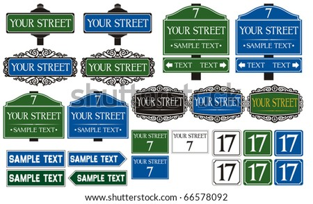 Big collection of road and street signs