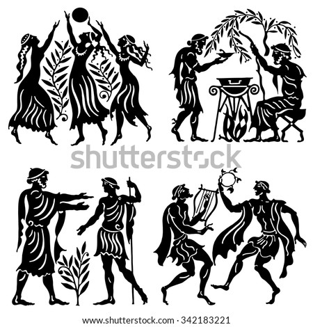 Big collection of silhouettes of Greeks