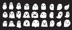 Big collection of simple flat ghosts. Halloween scary ghostly monsters. Cute cartoon spooky character.
