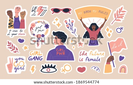 Big collection of trendy feminism stickers, cute woman characters and inspiration quotes. International women's day. Modern motivation pack, girls power. Colored vector flat cartoon illustration.