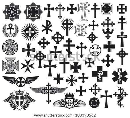 Big collection of various types of vector crosses