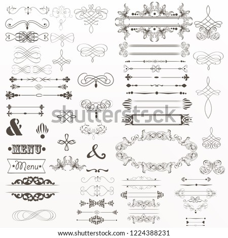 Big collection of vector decorative elements flourishes, swirls, frames in vintage style #1224388231