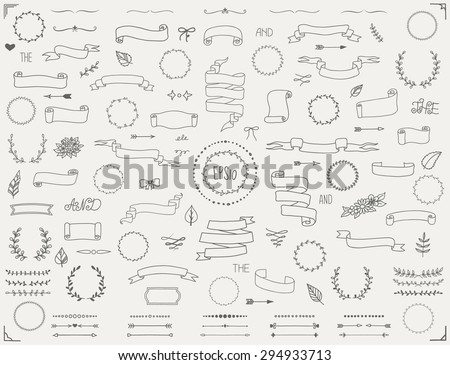 Big collection of vector hand drawn decoration elements including ribbons, dividers, laurel wreaths, frames and floral elements. Doodle style. Eps10.