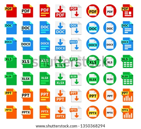 Big Collection of vector icons. File format extensions icons. 8 different design options. PDF, DOC, DOCx, XLS, XLSx, PPT, PPTx.