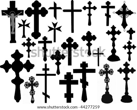 Big collection of vector isolated christian crosses