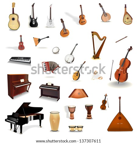 Big collection of vector music instruments