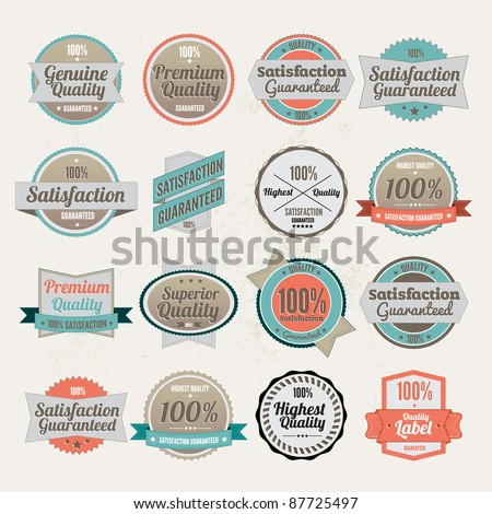 Big collection of  Vector Premium Quality Labels  with retro vintage styled design