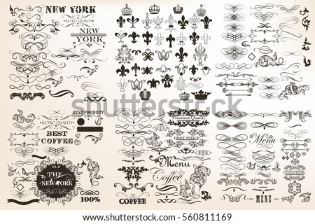 Big collection or set of vector vintage flourishes for design in antique style. Huge pack