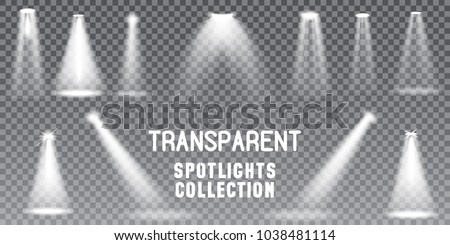 Big Collection Realistic white Scene illumination, theater studio, business presentation spotlights , special effects on transparent background.