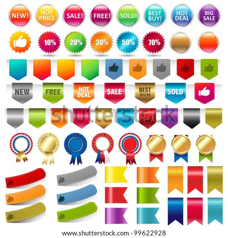 Big Collection Sale Stickers And Web Ribbons Set, Vector Illustration