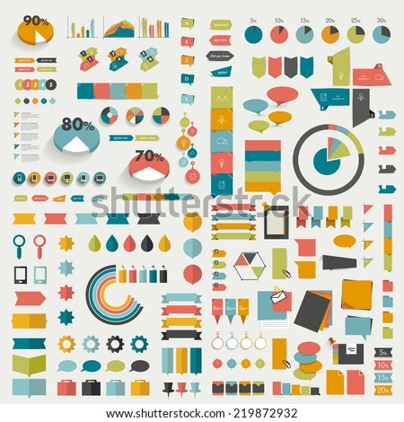 Big collections of info graphics flat design diagrams. Various color schemes, boxes, speech bubbles, charts and stickers. Vector illustration.  stock photo