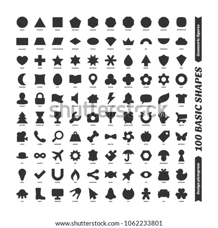 Big color vector black basic shapes set. Kids geometric figures school collection. Simple isolated design pictogram. Printable version.