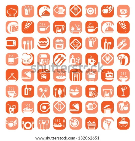 Big Colorful Kitchen Icons Set Created For Mobile, Web And Applications.