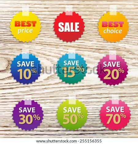 big colorful sale tags with