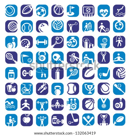 Big Colorful Sports Icons Set Created For Mobile, Web And Applications.