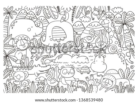 Big coloring Christmas page with African animals, tiger, elephant, koala, crocodile, lion, flamingo