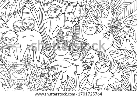 Big coloring page with cute sloths in the tropical leaves. Mom and baby sloth on summer vacation. Big coloring poster for kids.  Сток-фото ©