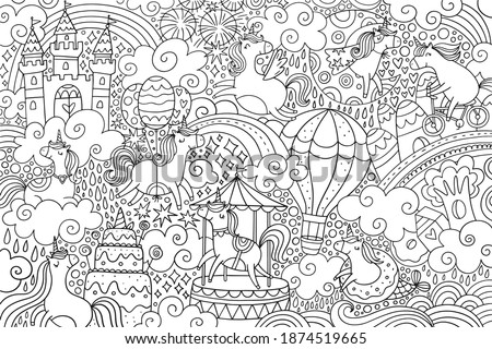 Big Coloring poster. Magical world with cute Unicorns. Fairy land of unicorns