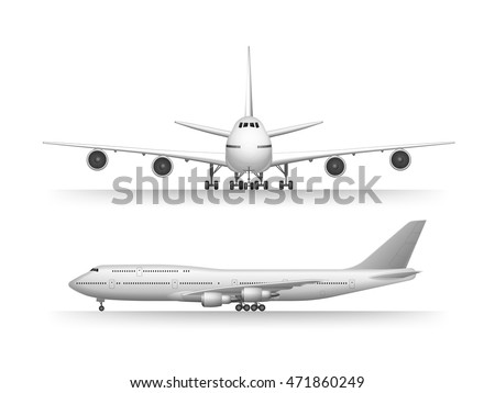Big commercial jet airplane. Airplane in profile, from the front view. Aeroplane isolated. Aircraft vector illustration. Airline Concept Travel Passenger plane set. Jet commercial airplane.