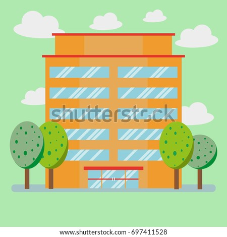 Big company business building and tree with flat style, Vector Illustration.