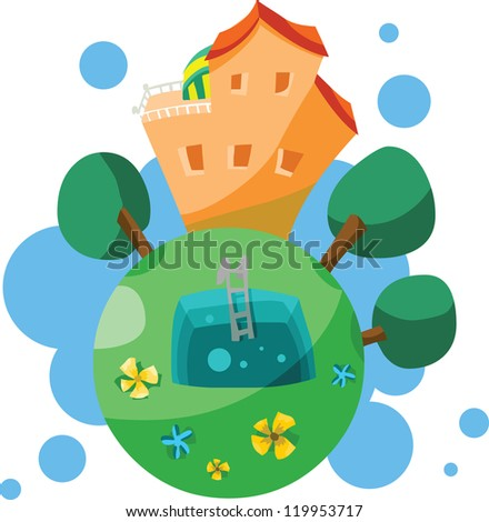 Big cottage, house of a dreams, with swimming pool, green trees and flowers. Stylized illustration